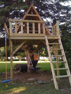 """Here's a shot of the treehouse we just finished* for our daughter Liberty.    It took about three weeks, but most of the work was done over 3-4 weekend days.    *as most of you know, a project like this is never """"done""""...the zip line is already ordered f what do you need for your survival www.allformysurvival.com"""