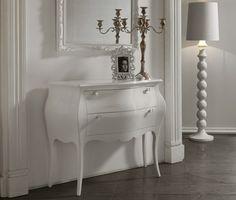 Commode d'entrée design 2 tiroirs BLANDINE, coloris blanc laqué - poignées Swarovski