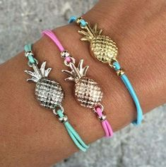 bff bracelets are cool and then you got bff pineaplle bracelets awesome cool Cute Jewelry, Diy Jewelry, Jewelry Box, Jewelry Accessories, Jewelry Making, Jewellery, Pineapple Jewelry, Pineapple Clothes, Cute Pineapple