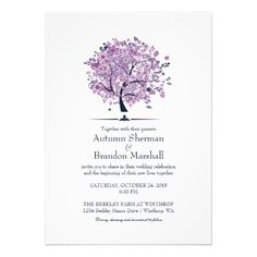 Fall Wedding Purple Tree and Leaves