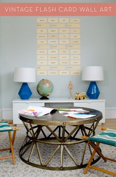 Really easy way to use old flash cards to create an awesome accent wall.