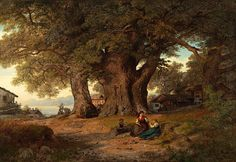 Hans Gude - Under eketreet (1858)