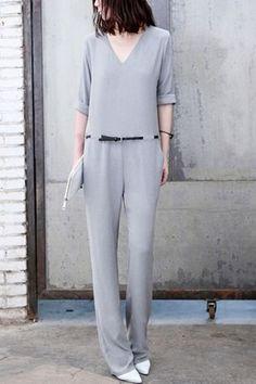 oasap Elegant V-neck Jumpsuit