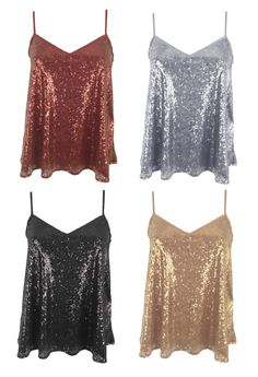 Womens Ladies Sequin Strappy Cami Swing Vest Top Sleeveless Party Evening Top | eBay