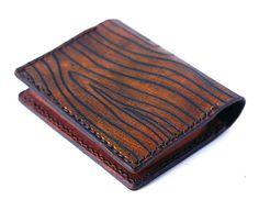Billfold Men's Wallet Bifold Little wallet leather wood by rntn, $50.00