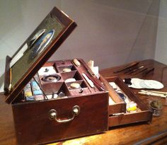 """1790s Miniature Portrait Painter's Box - """"This late eighteenth century artist's box is like a portable portrait studio. It's believed to have belonged to an unknown American traveling artist and contains all the tools and materials they would need to paint portrait miniatures on ivory with either powdered color or watercolor."""""""