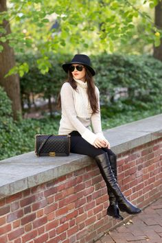 Top: Tory Burch | Bottoms: Hudson | Boots: Stuart Weitzman | Bag: Chanel | Hat: Rag&Bone | Glasses: Ray-Ban | Earrings: BaubleBar c/o | Lips: Liner-Cherry by MAC, Lipstick- YSL Rouge Pur Couture #13 #fall #fashion