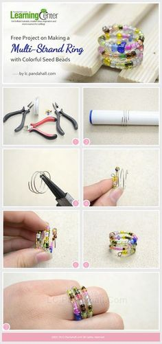 diy jewelry Jewelry Making Tutorial-Make a Multi-Strand Ring with Colorful Seed Beads I Love Jewelry, Dainty Jewelry, Wire Jewelry, Jewelry Crafts, Beaded Jewelry, Jewelery, Handmade Jewelry, Jewelry Design, Jewelry Ideas