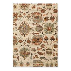 Bring the beauty of the garden indoors with the Logan Floral Area Rug - Threshold on the floor. Autumnal colors bring the room together for a complete look. The whole family will love the super good feel of 100% wool fabric under their bare feet.