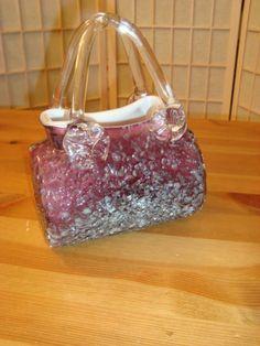 Unique Amethyst & Milk Glass Hand Blown Studio Art Purse Handbag Vase Decor