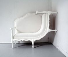 Wall-climbing sofa by Lila Jang - part of the 2007 contemporary art exhibition Parcours Saint Germain in Paris