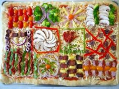 Quilt pizza- let everyone decorate their own piece! Great idea for a ...