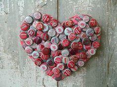 I Heart You - upcycled bottle cap heart. $32.00, via Etsy.