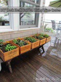 DIY Deck Herb Garden Using Wine Boxes