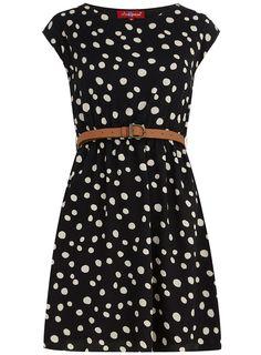 Dorothy perkins black belted spot dress