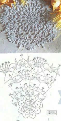 Patterns and motifs: Crocheted motif no. A rhombus crochet and other ideas for inspiration. Crochet Doily Diagram, Crochet Doily Patterns, Crochet Mandala, Crochet Motif, Crochet Doilies, Crochet Flowers, Crochet Stitches, Crochet Table Runner, Crochet Tablecloth