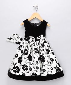 blak and white floral toddler dress