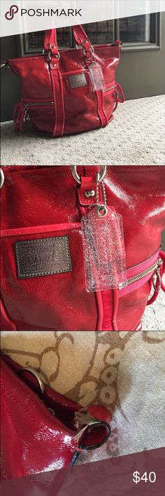 Small Poppy Coach Bag Beautiful Poppy Coach Bag, this bag is small but makes the perfect bag! It has beautiful zipper details and lots of compartments. Beautiful bright red bag! The inside has a few marks, nothing really noticeable or extreme. Will post more pictures on request Bags
