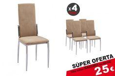 Pack 4 sillas salón SAKURA CZ Beige Color Beige, Dining Chairs, Furniture, Home Decor, Tela, Salon Chairs, Upholstered Chairs, Modern Furniture, Decoration Home