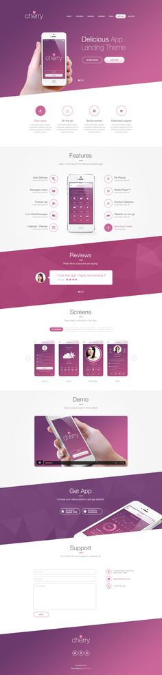 Cherry - Delicious App Landing Theme by Pierre Marais, via Behance