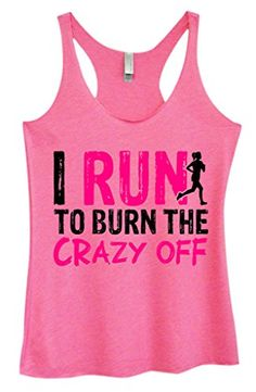 Womens Running Marathon TriBlend Tank I Run to Burn The Crazy Off III Funny Threadz XLarge Pink *** See this great product.