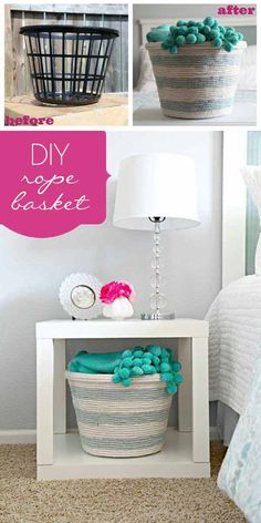 34 Fantastic DIY Home Decor Ideas With Rope IE Rope basket!