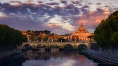 Violet Dawn - Once again Vatican city from Umberto's Bridge. This time the shot was taken at the first orange-red light of the dawn while the sky and plenty of beautiful clouds still retained violet-pinkish tone. Vatican City, Orange Red, Big Ben, Dawn, Bridge, Clouds, Sky, Building, Travel