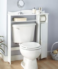 for small bathrooms - I like that little side cabinet, great for hiding toilet brush and plunger