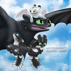 Toothless and his baby Night Light dragons Httyd Dragons, Dreamworks Dragons, Cute Dragons, Toothless And Stitch, Toothless Dragon, Dragon Rider, Dragon 2, Night Fury Dragon, Film Anime