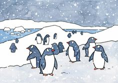 "A whimsical illustration of Gentoo Penguins in a snowy Antarctic landscape. High quality art print Signed and dated 5x7"" and 8x10"" prints come matted 11x14"" print shipped in mailing tube (not matted,"