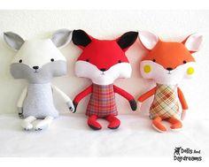 Fox Sewing Pattern PDF Stuffed Toy Softie Instant Download