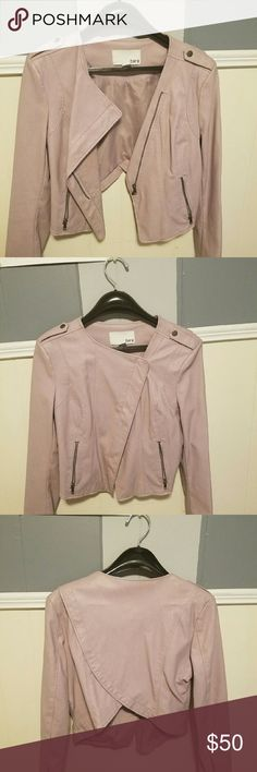 Bar III Lavender Faux Leather Jacket Seriously cute Bar III faux leather jacket. Worn only once. No scratched or marks. Smoke free home. Size Large but can fit a Medium as well Bar III Jackets & Coats Blazers