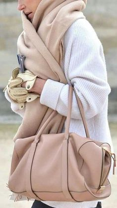 pale purse and scarf for winter