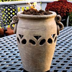 Aria Ceramic Propane Tabletop Firebowl in Fall 2012 from Jackson & Perkins on sh… - Modern Fire Bowls, Tabletop, Jackson, Planter Pots, Patio, Ceramics, Fall, Modern, Cottage Ideas