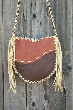 Leather handbag tote Handmade buckskin leather carry all. $132.00, via Etsy.