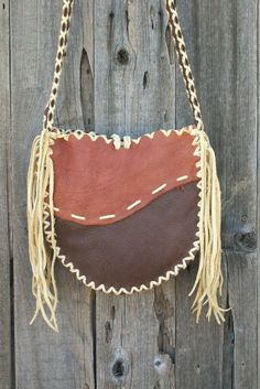 Leather handbag tote Handmade buckskin leather carry all. $132.00, via Etsy.