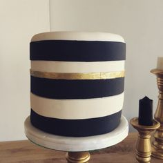 Black and white with a touch of gold fondant cake by The Birdcage, Stellenbosch