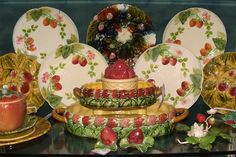 Antique French Majolica Strawberry dishes...Nothing Ordinary Antiques