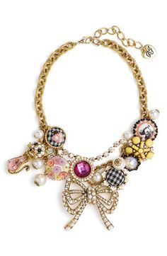 Betsey Johnson Vintage Betsey Bow and Charm Necklace $89.90