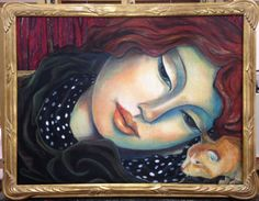 WOMEN and cats do as they please                   30x40oil pastel on canvas                                   miguelmartinezfineart.com