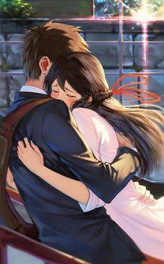 Anime: Kimi no Na wa Tags~ - Anime Cosplay, Anime Girlfriend, Mitsuha And Taki, Anime Couples Hugging, Couple Hugging, Kimi No Na Wa Wallpaper, Humour Geek, Cute Anime Coupes, Your Name Anime