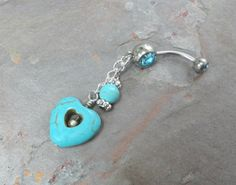 Hey, I found this really awesome Etsy listing at https://www.etsy.com/listing/166847666/turquoise-heart-dangle-belly-button