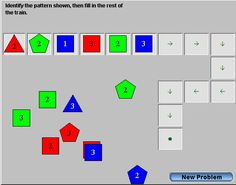 "This is an image from this resource on the Internet4Classrooms' ""Fifth Grade Interactive Math Skills - Patterns and Functions"" resource page:    Attribute Trains.    Practice completing patterns of shapes, numbers, or colors.  Complete the pattern by dragging blocks onto the train.  If a block does not belong where you drop it, it will return to where you picked it up.  Press New Problem to start a new train."
