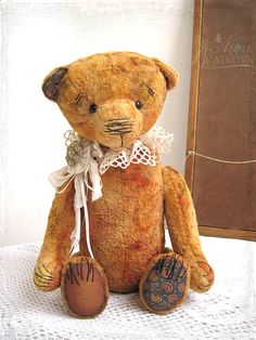 Artist Teddy OOAK Alexey Vintage orange yellow 14 inches