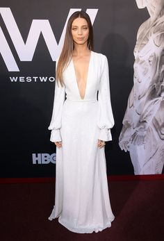 "Angela Sarafyan Photos - Angela Sarafyan attends the Premiere of HBO's ""Westworld"" Season 2 at The Cinerama Dome on April 2018 in Los Angeles, California. - Premiere Of HBO's 'Westworld' Season 2 - Red Carpet Celebrity Red Carpet, Celebrity Style, Celebrity Outfits, Westworld Season 2, Westworld Cast, Angela Sarafyan, Fairytale Dress, All White Outfit, Cocktail Gowns"