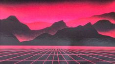 Red 80s Background Grid Mountains