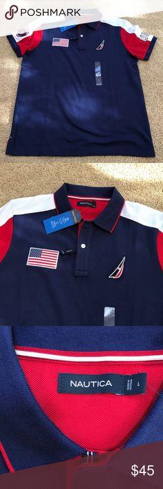 Nautica Men s Large Navy flag polo T shirt New! Nautica Men s Large slim. Bandeira  Da ... fb69e495db6
