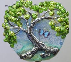 Mouse over image to zoom    Have one to sell? Sell it yourself  WSTGA~GARDEN OF EDEN~BUTTERFLY TREE handmade lampwork glass bead focal