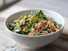 Quinoa with Chickpeas, Parsley, Almonds and Tahini Lemon Vinaigrette by mariana