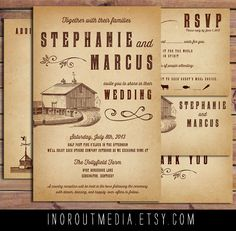 Rustic Wedding Invitation Suite  Vintage Antique by starboardpress, $5.00